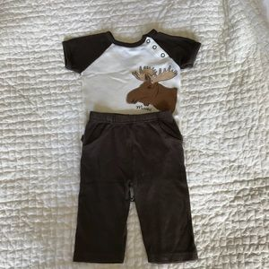 Touched By Nature Moose Onesie & Pants Outfit